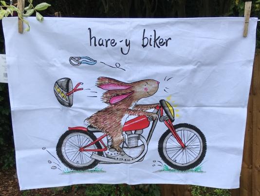 Hare-y Biker: 2019. To read the story www.myteatowels.wordpress.com/2019/07/26/har