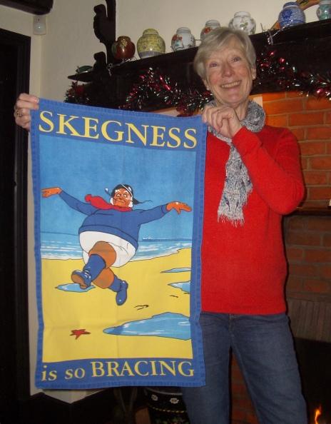 jan and her Skegness Tea Towel. On 'loan'.