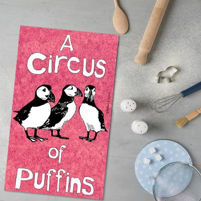 A Circus of Puffins (courtesy of Perkins and Morley). 1000th Tea Towel Blog. To read the story www.myteatowels.wordpress.com/2020/12/05/cir