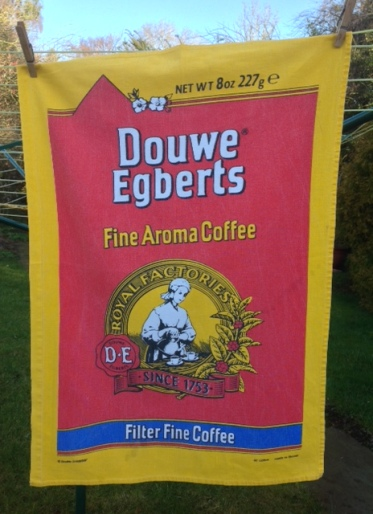 Douwe Egberts: On 'loan' from Kate - see Guest Tea Towel 2018