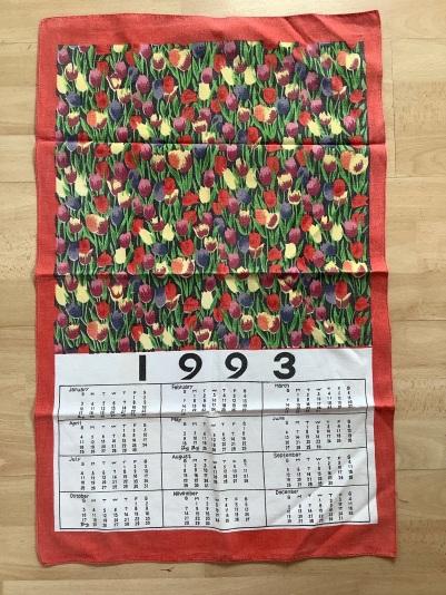 1993 Calendar Tea Towel. To read the story www.myteatowels.wordpress.com/2020/07/16/1993