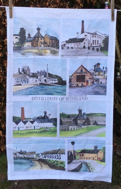 Distilleries of Scotland: 2019. To read the story www.myteatowels.wordpress.com/2020/01/28/dis