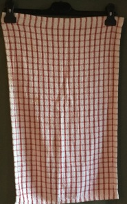 """Red and White Check: There were 3 of these tea towels in Jean's Collection. """"I didn't buy this; it was bought by one of Betty's carers. She didn't ask. She thought she knew best"""" Included in www.myteatowels.wordpress.com/2018/03/25/too"""