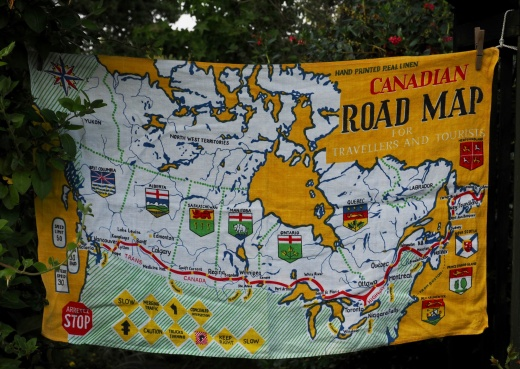 Canadian Road Map for Travellers and Tourists: Vinage but acquired in 2017. To read the story www.myteatowels.wordpress.com/2017/12/14/can