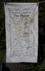 Thank you for watering the plants: Date Unknown, acquired 2017. To read the story www.myteatowels.wordpress.com/2017/10/06/tha