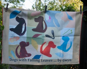 Dogs With Falling Leaves:2017. To read the story www.myteatowels.wordpress.com/2017/04/26/dog