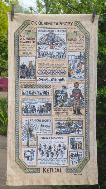 Quaker Tapestry: 2001. To read the story www.myteatowels.wordpress.com/2017/08/27/qua