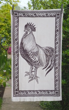 Cockerel: 2008. To read the story www.myteatowels.wordpress.com/2017/06/29/the-cockerel-and-the-hen-2008/