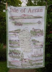 """Isle of Arran: 6 and 7 September 1992 """"Rain, rain and more rain today but not deterred we went to Brodick House and Gardens which are owned by the National Trust. Lovely gardens, interesting furniture and pictures. Lunch back at Lamlash, change into some dry clothes then off to Blackwaterfoot. Lovely little place on west of the island but the rain came"""" (from Jean's Postacrd Diary) . Also in Arran www.myteatowels.wordpress.com/2018/11/02/arr"""