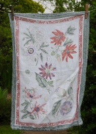 """Passiflora: """"I loved this tea towel. I bought it at a National Trust place; I loved going round the national Trust places with David and Dorothy. There are so many near where they used to live"""""""