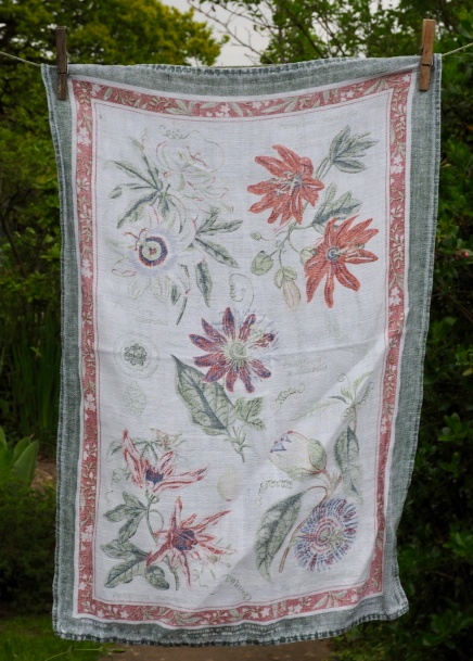 "Passiflora: ""I loved this tea towel. I bought it at a National Trust place; I loved going round the national Trust places with David and Dorothy. There are so many near where they used to live"""