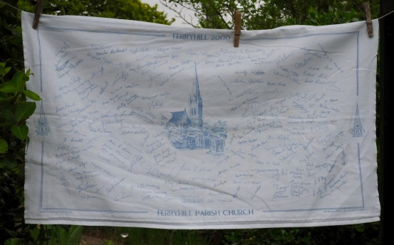 Ferryhill Church 2000: Read the story in Jean's Guest Tea Towel in Guest Tea Towels 2017