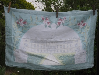 "Woburn Abbey: Jean loved going to Woburn Abbey, just down the road from Hitchin. ""The grounds were so lovely. This tea towel must have been bought in about 1975. Wow that was a long time ago"""