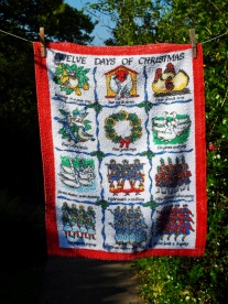 """Jean's Christmas Tea Towel. """"This was the tea towel I bought at the Ferryhill Christmas Fair in 2002"""" To read the story www.myteatowels.wordpress.com/2015/12/05/jea To be part of a Special Collection"""