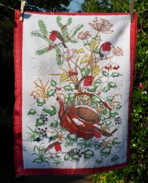 """Robin in the Teapot: """"This is the tea towel that Betty bought at the Ferryhill Christmas Fair in 2002"""""""