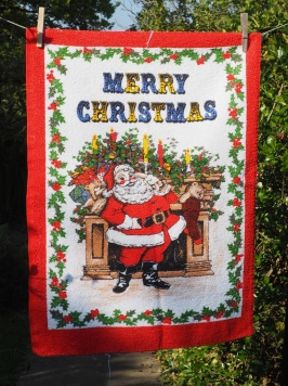 "Jean's Christmas Tea Towels: ""Myra, Betty and I always went to Ferryhill Christmas Fair. We bought one each in 2002. To read the story www.myteatowels.wordpress.com/2015/12/05/jea."