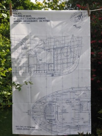 Blueprint of the General Arrangementof a Lifeboat (designed in 1964): 2017. To read the story www.myteatowels.wordpress.com/2017/06/10/blu