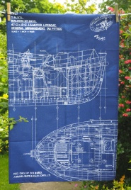 Blueprint of the General Layout of a Lifeboat (designed 1964): 2017. To read the story www.myteatowels.wordpress.com/2017/06/10/blu