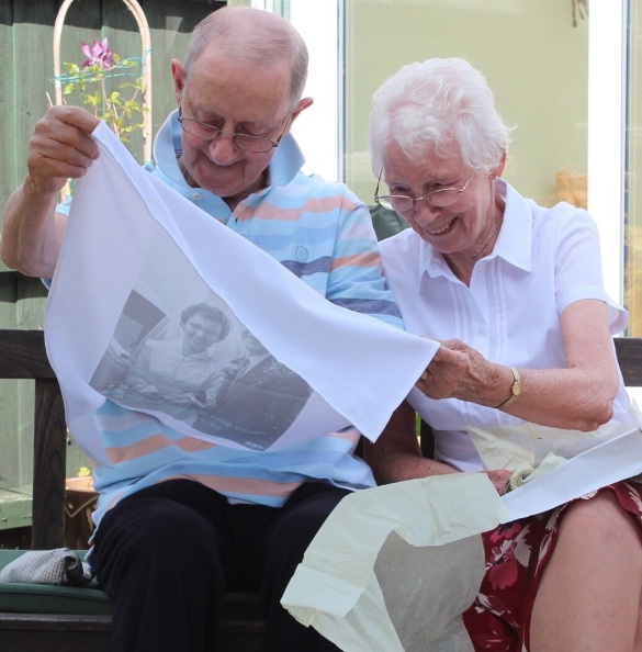 60th Wedding Anniversary present. A photo on a tea towel from their wedding
