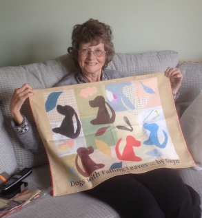 Gwyn's collage made into a tea towel!
