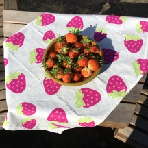 What better setting - strawberries on Strawberry Tea Towel. To read the story www.myteatowels.wordpress.com/2016/09/01/str
