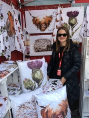 Clare Baird and her stall of tea towels in Edinburgh