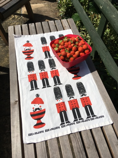 Freshly picked strawberries with Eggs and Soldiers tea towel