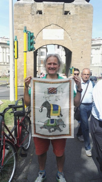 It's a bit like buses: Andrew with another' weird' tea towel from Florence