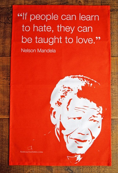 Nelson Mandela. On 'loan' from Radical Tea Towel Company