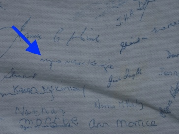 Jean's sister Myra's signature. Myra died in 2006.