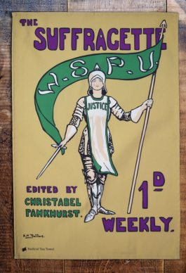 The Women's Social and Political Union was founded in 1903 because some women, led by Emmeline Pankhurst, were frustrated by the low key approach to campaigning and felt they should be more militant. They felt only militant tactics would work. Hilda Dallas designed this front cover of the newspaper, incorporating the green, purple and white colours and using the image of Joan of Arc, the patron saint of suffragettes