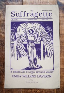 This was the front page of the weekly magazine called The Suffragette, printed the day before the funeral of Emily Wilding Davidson who died after falling in front of a horse at the Epsom Derby