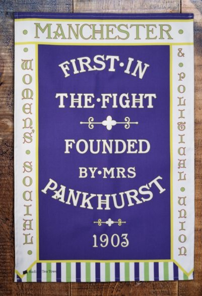 When Emmeline Pankhurst founded the Women's Social and Political Union in 1903, having split from the National Union of Women's Suffrage Societies, because she was frustrated by the tactics and felt they should be more militant, this was the banner in front of which Emmeline spoke at all her meetings. The original banner is now held by the People's History Museum
