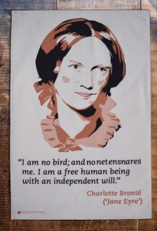 Charlotte Bronte initially wrote Jane Eyre under the pseudonym of Currer Bell. Her heroine has the strength to defy the patriarchal society she inhabited and spoke out when treated unfairly. On 'loan' from Radical Tea Towel Company