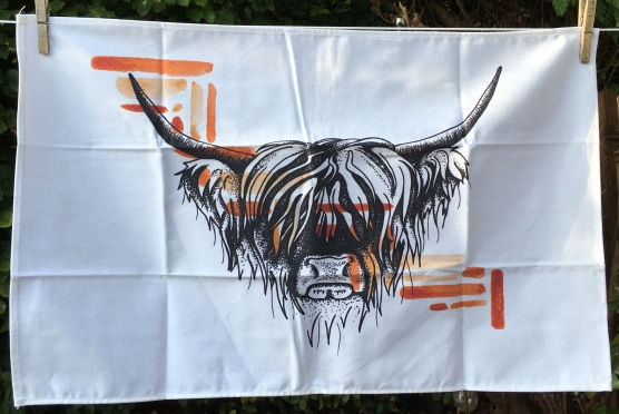 Another Highland Cow: 2019. To read the story www.myteatowels.wordpress.com/2019/10/29/ano